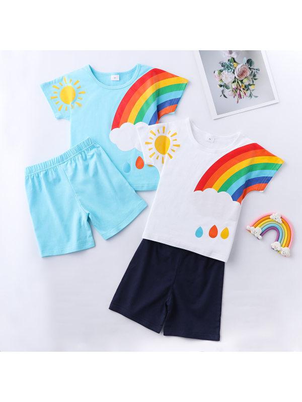 【12M-5Y】Boys Rainbow Pattern Short Sleeve T-shirt Shorts Set