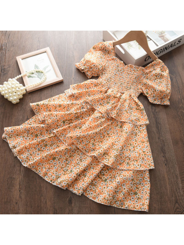 【18M-7Y】Girl Sweet Orange Chiffon Floral Puff Sleeve Dress - 3341