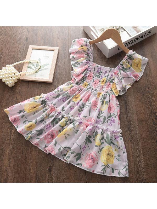 【2Y-9Y】Sweet Flower Print Chiffon Pink Short Dress - 3339