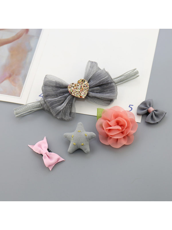 Baby Hair Band Crown Flower Bow Knot Head Flower Hairpin Hair Clip Combination