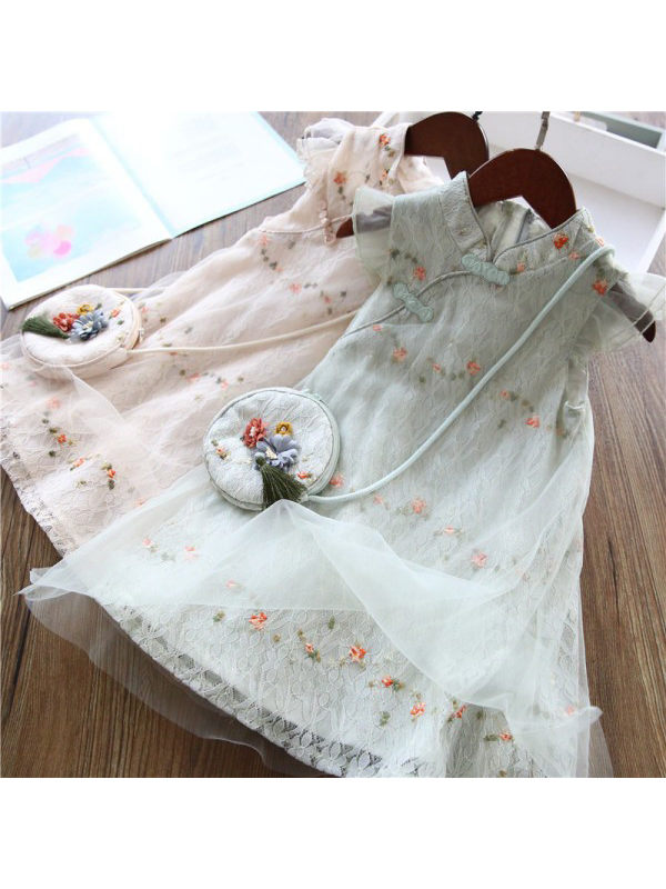 【3Y-11Y】Girls Sweet Lace Mesh Flower Embroidery Dress With Bag - 3347