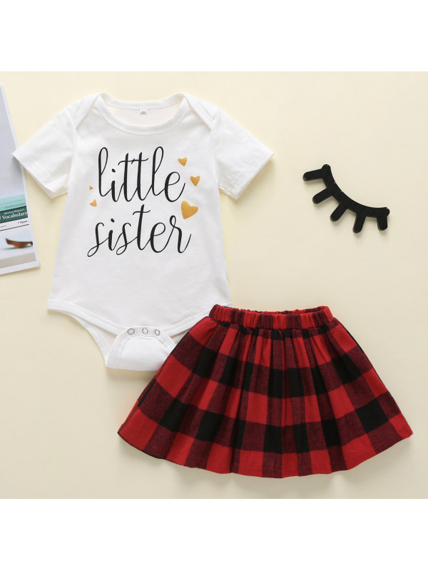 【6M-3Y】Cute Letter Print Round Neck Short Sleeve Romper and Red Plaid Skirt Set