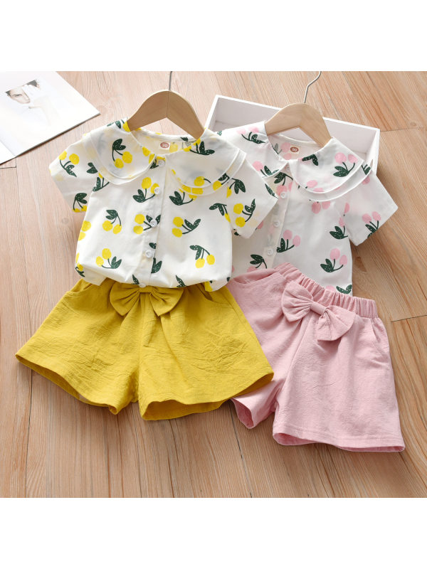 【18M-7Y】Sweet Cherry Print Shirt and Pure Color Shorts Set