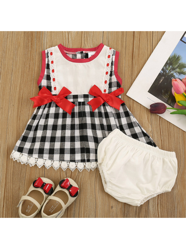 【6M-3Y】Cute Bow Plaid Sleeveless Top and Shorts Set