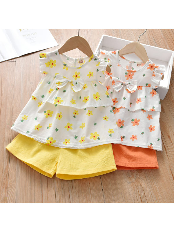 【18M-7Y】Sweet Bow Floral Print Top and Pure Color Shorts Set - 3435