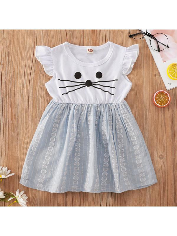 【6M-2.5Y】Cute Cartoon Print Round Neck Short Sleeve Short Dress