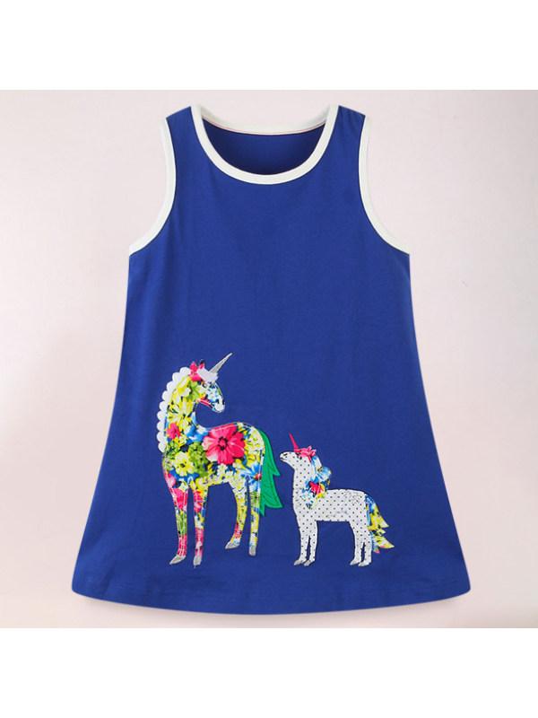 【18M-9Y】Cute Cartoon Print Round Neck Sleeveless Blue Dress