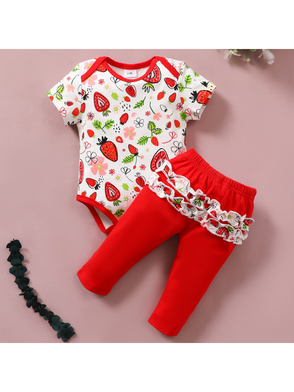 【6M-3Y】Sweet Strawberry Print Round Neck Short Sleeve Romper and Red Pants Set
