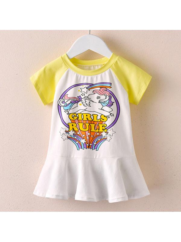 【18M-9Y】Cute Cartoon Unicorn Print Round Neck Short Sleeve Dress