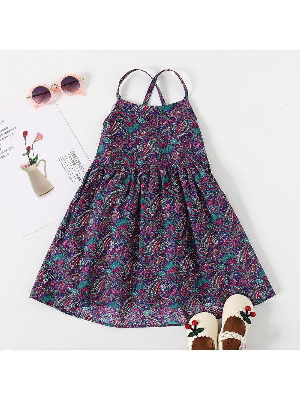【18M-7Y】Girls Sweet Floral Bare-back Shoestring Strap Dress