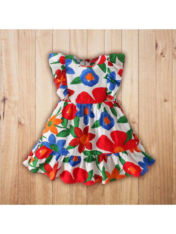【18M-11Y】Girls Fashion Ruffled Flower Full Print Sleeveless Dress