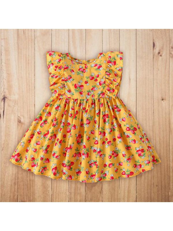 【18M-7Y】Girls Sweet Floral Ruffled Sleeveless Dress