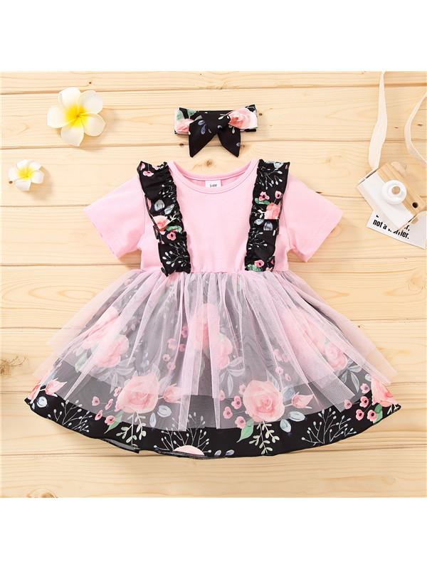 【12M-4Y】Girls Floral Print Sweet Casual Dress