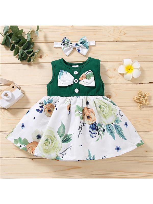 【12M-4Y】Girls Floral Print Bow Sleeveless Dress
