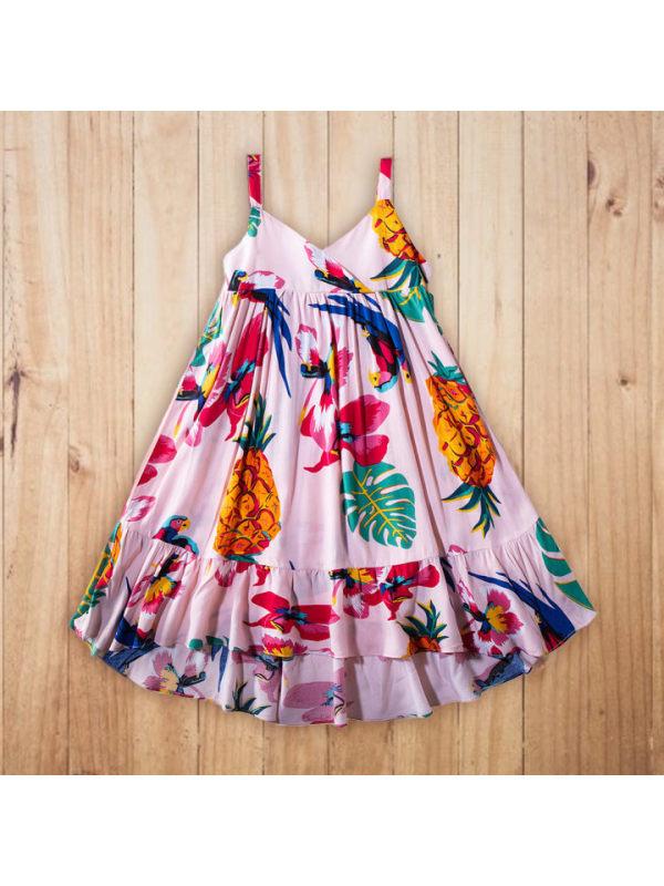 【18M-7Y】Girls Fresh Sweet Flower Pineapple Print Camisole Dress