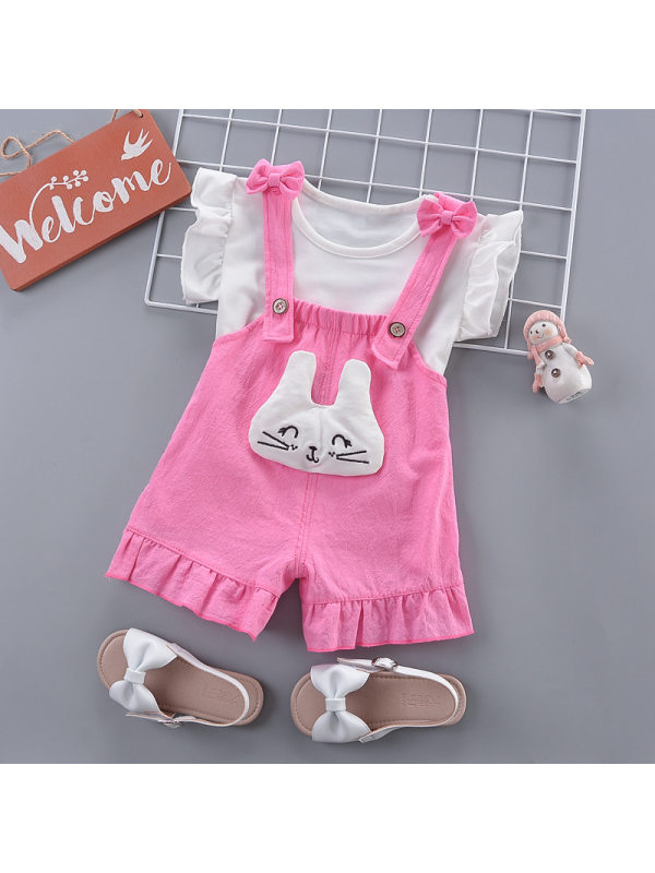 【6M-3Y】Girls Sweet Cute Short-sleeved T-shirt Cartoon Overalls Set