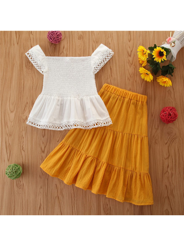 【2Y-9Y】Girls White One-shoulder Blouse Yellow Long Skirt Suit