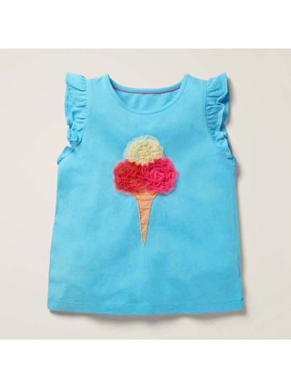 【18M-9Y】Girls Fashion Casual Ice Cream Pattern Sleeveless T-shirt