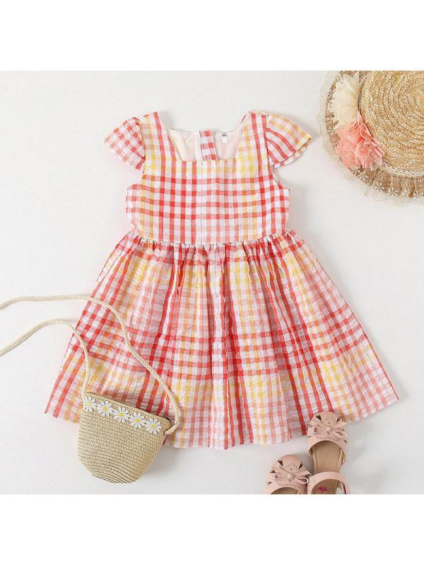【18M-7Y】Sweet Plaid Square Neck Short Dress