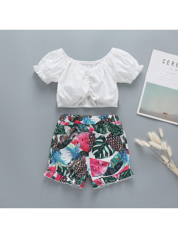 【18M-7Y】Girls White Short-sleeved Shirt Fruit Print Pants Suit