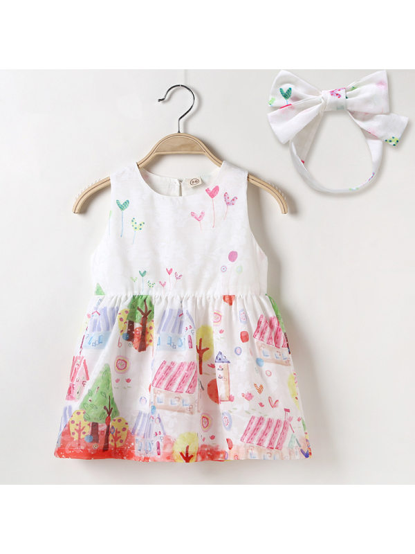 【12M-5Y】Girls Cute Cartoon Print Sleeveless Vest Dress