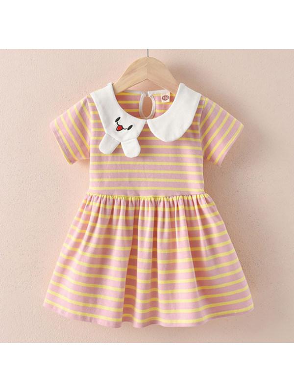 【18M-7Y】Cute Cartoon Embroidered Collar Striped Short Sleeve Dress