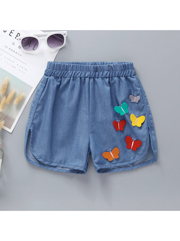 【12M-5Y】Girls Casual Cute Cartoon Butterfly Embroidery Patch Shorts