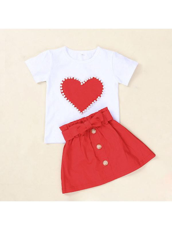 【18M-5Y】Girls Love Pearl Short-sleeved T-shirt Solid Color Skirt Set