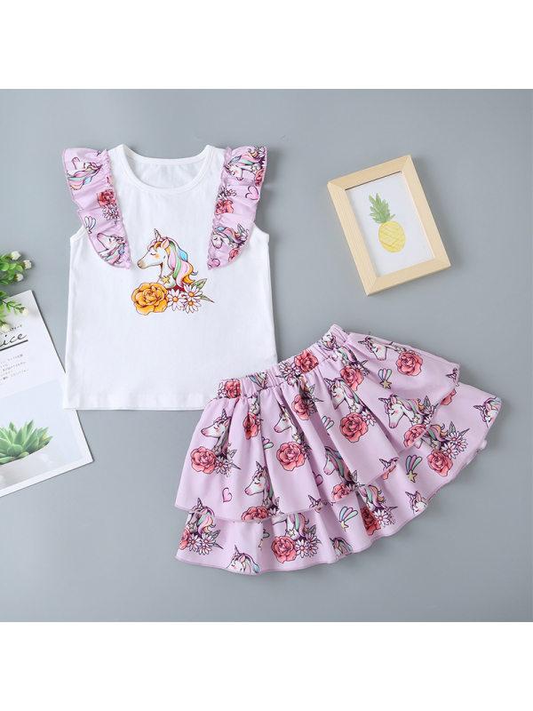 【18M-7Y】Girls Sweet Cute Unicorn Print Top Floral Skirt Suit