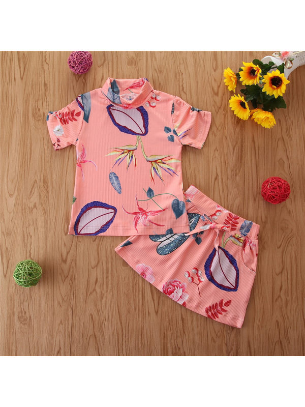 【12M-5Y】Girls Fashion Casual Plant Print Short-sleeved Shorts Suit