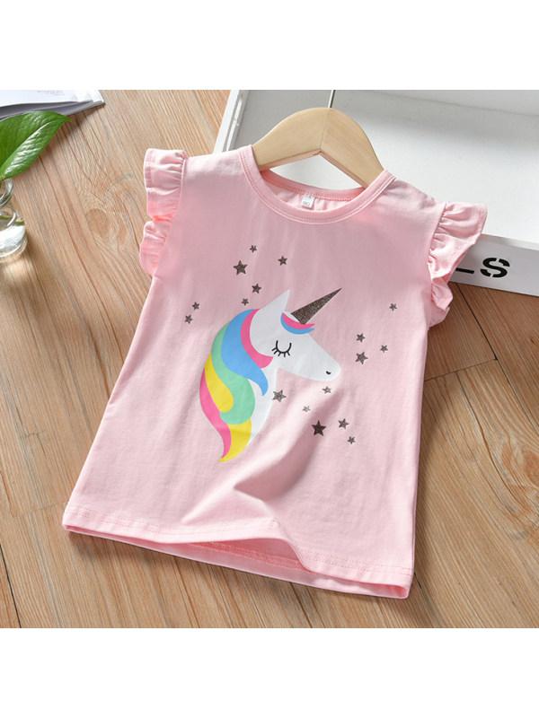【12M-9Y】Cute Cartoon Unicorn Print Round Neck Pink T-shirt