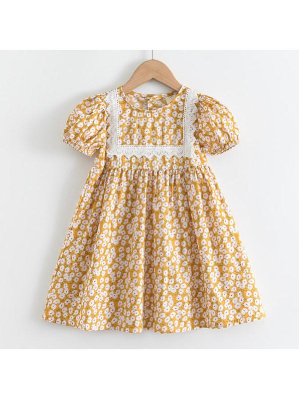 【2Y-9Y】Girls Sweet Yellow Floral Puff Sleeve Dress