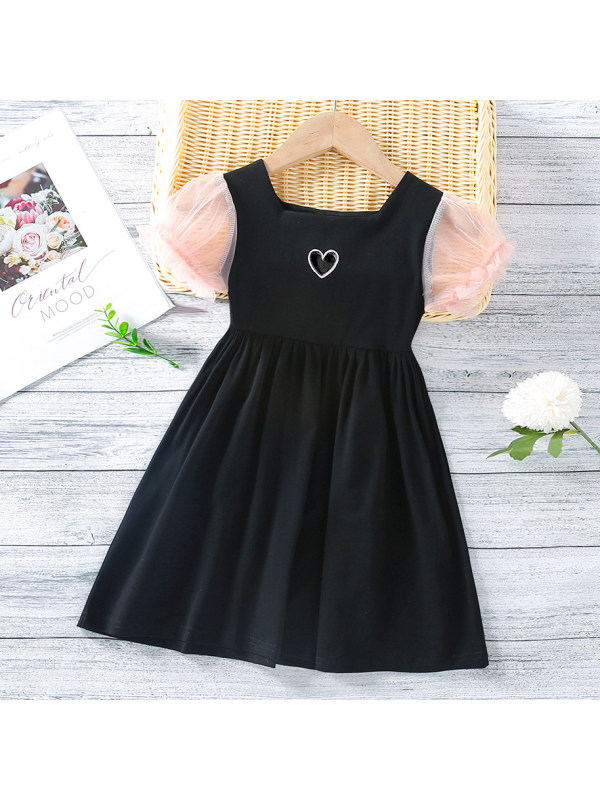 【18M-7Y】Sweet Heart Embroidered Square Neck Mesh Puff Sleeve Dress