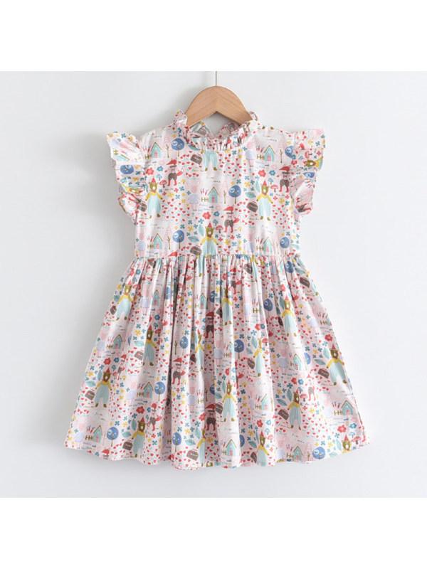【2Y-9Y】Girls Sweet Cartoon Pattern Dress