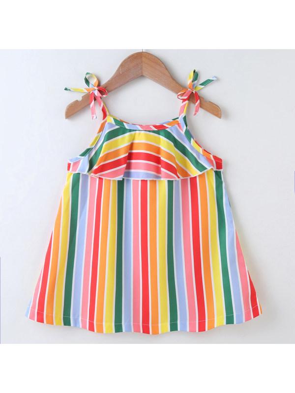 【18M-7Y】Sweet Rainbow Striped Sling Dress
