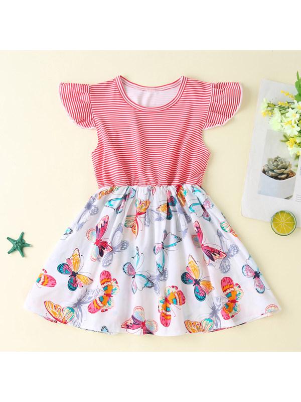 【18M-7Y】Girls Sweet Striped Butterfly Pattern Dress