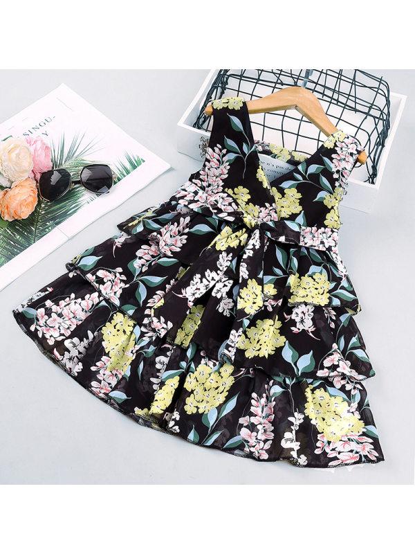 【18M-7Y】Girls Sweet Chiffon Floral V-Neck Cake Dress