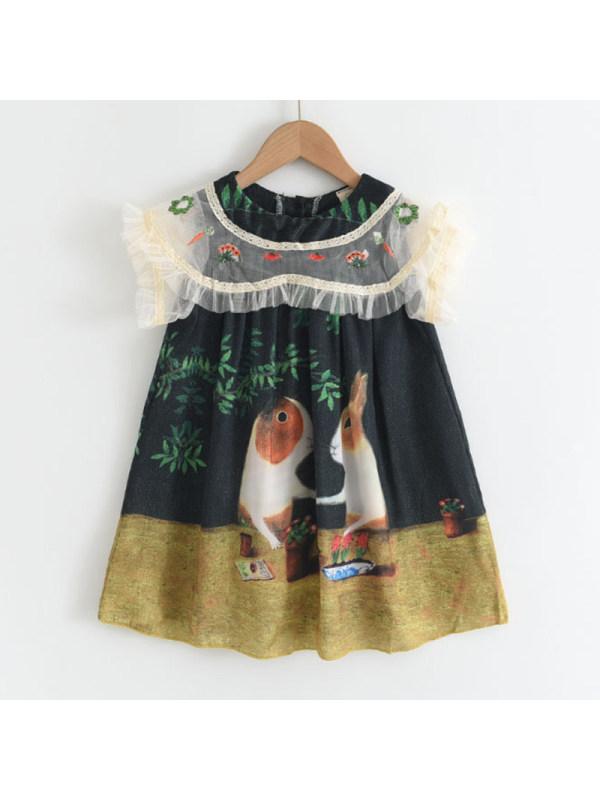 【18M-7Y】Girls Sweet Rabbit Pattern Mesh Embroidered Dress