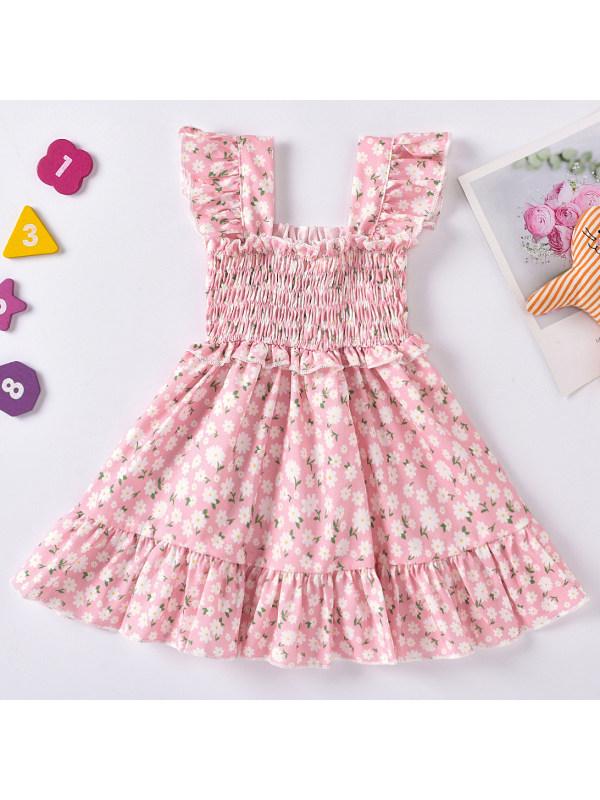 【6M-2.5Y】Sweet Flower Print Ruffled Sling Dress