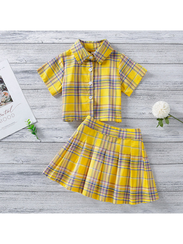 【18M-7Y】Sweet Yellow Plaid Short-sleeved Shirt and Skirt Set