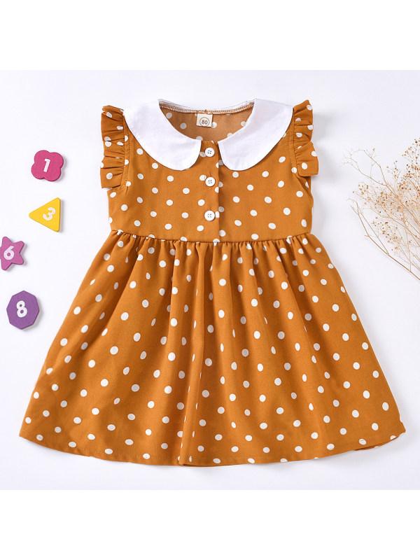 【12M-5Y】Sweet Polka Dot Print Yellow Sleeveless Dress