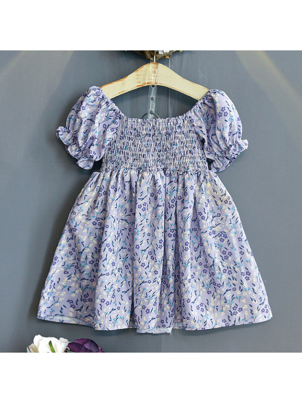 【18M-7Y】Sweet Floral Print Off-the-shoulder Puff Sleeve Dress