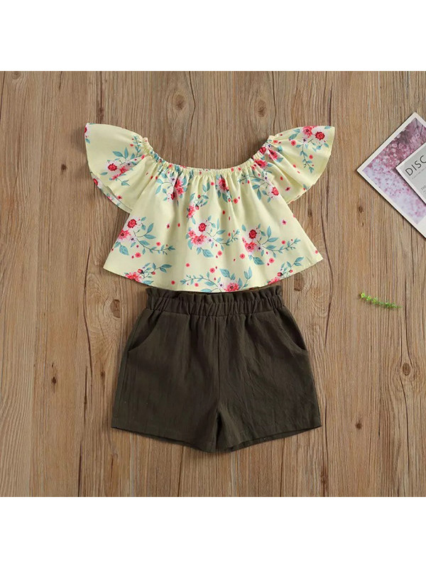 【12M-5Y】Girls Flower Print Ruffled Short-sleeved Top And Shorts Two-piece Suit