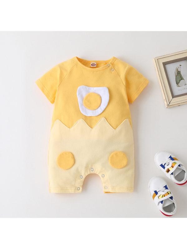 【0M-18M】Baby Cartoon Stitching Short-sleeved Romper