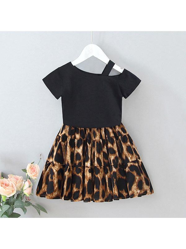 【18M-7Y】Girls Short-sleeved Off-shoulder Top Leopard Print High-waist Skirt Suit