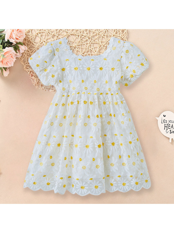 【3Y-13Y】Sweet Flower Embroidery Puff Sleeve White Dress
