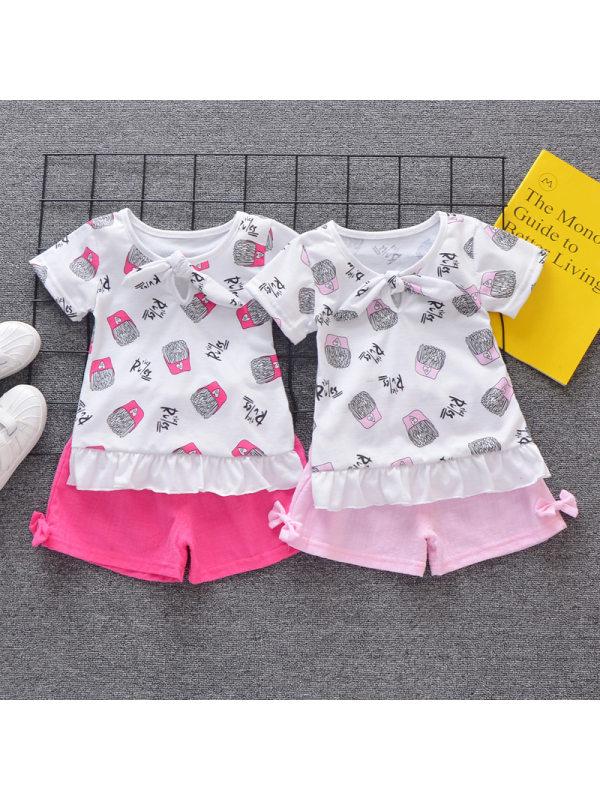 【12M-4Y】Girls Sweet Fries Pattern Short-sleeved T-shirt Pants Set