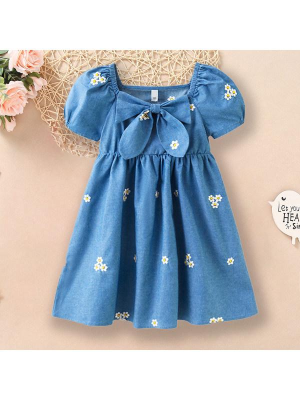 【3Y-13Y】Sweet Flower Embroidery Puff Sleeve Blue Denim Dress