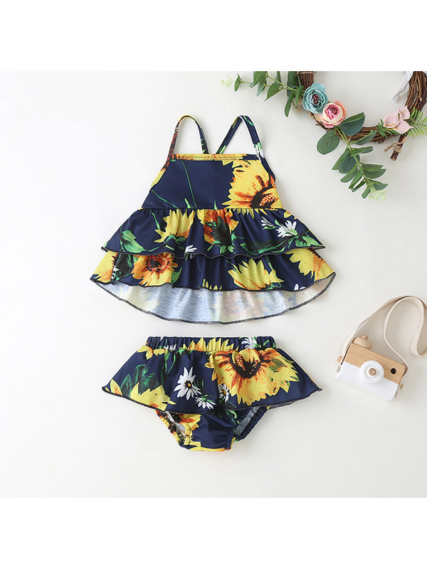 【6M-3Y】Sunflower Print Sling Briefs For Baby Girl