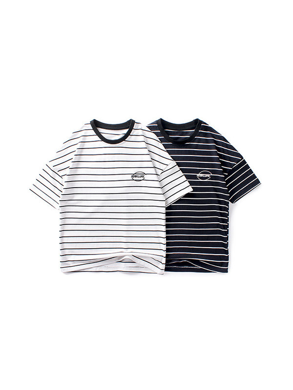 【4Y-13Y】Boys Striped Embroidered Short Sleeve T-shirt